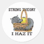 Gato de la teoría de la secuencia de la física etiqueta redonda