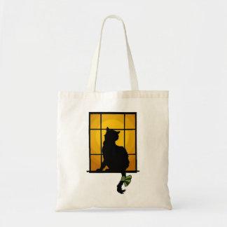 Gato de la ventana bolsas de mano