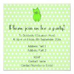Gato de la verde lima invitación 13,3 cm x 13,3cm