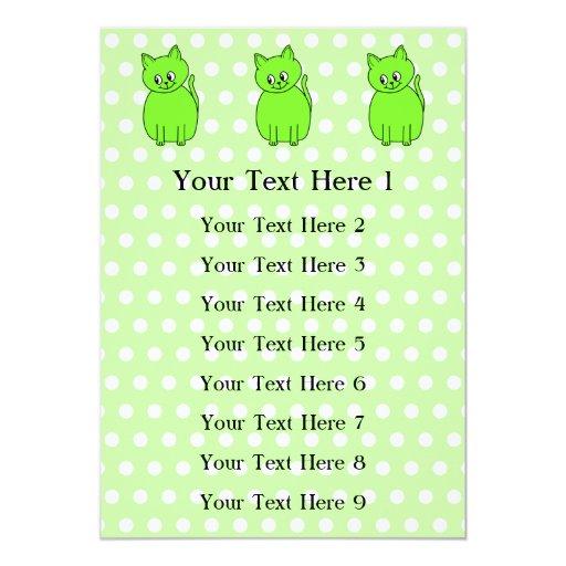 """Gato de la verde lima invitación 5"""" x 7"""""""