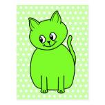 Gato de la verde lima postal