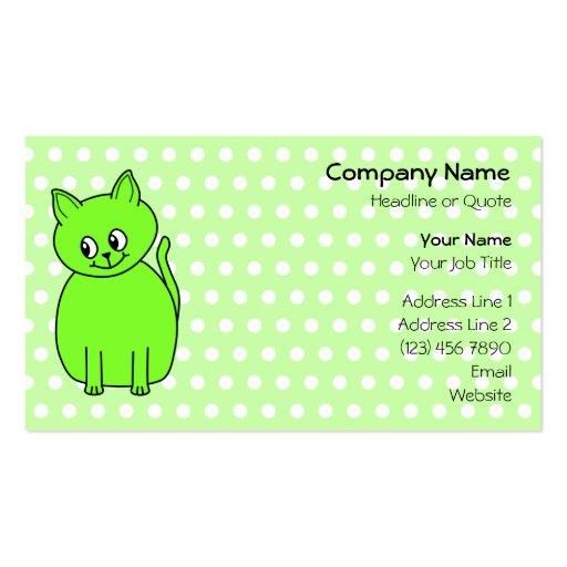 Gato de la verde lima tarjetas de visita