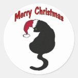 Gato de las Felices Navidad Pegatina Redonda