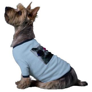 gato de las gafas de sol camiseta con mangas para perro