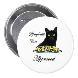 Gato de los espaguetis aprobado pin redondo de 3 pulgadas