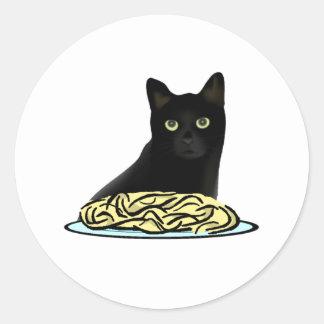 Gato de los espaguetis etiquetas redondas
