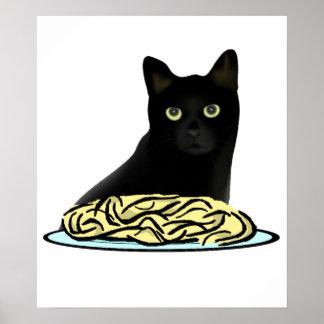 Gato de los espaguetis póster