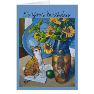 Gato de los girasoles del cumpleaños tarjeta de felicitación