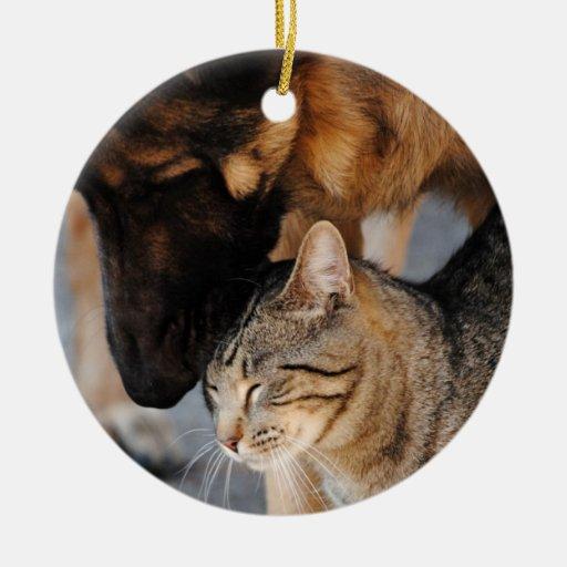 Gato de los mejores amigos y ornamento del pastor adorno redondo de cerámica