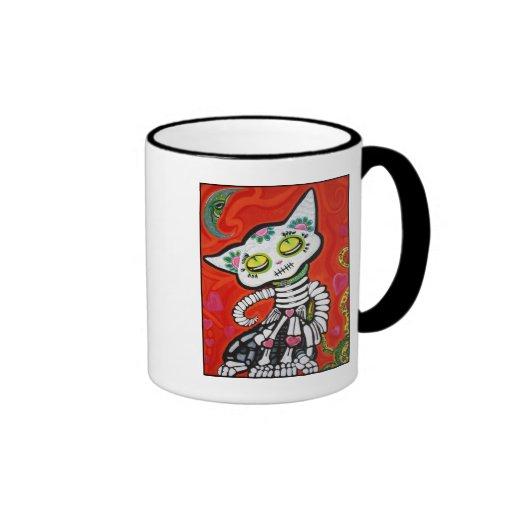 Gato De Los Muertos Ringer Coffee Mug