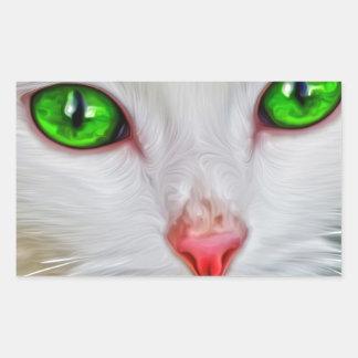 Gato de los ojos verdes pegatina rectangular