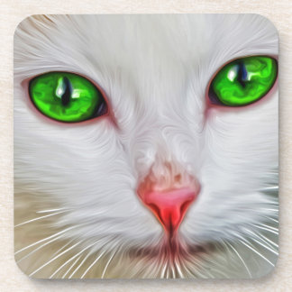 Gato de los ojos verdes posavasos