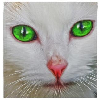 Gato de los ojos verdes servilleta imprimida