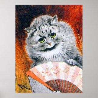 Gato de Louis Wain del vintage con el poster de la