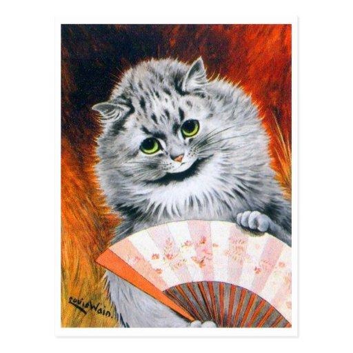 Gato de Louis Wain del vintage con la postal de la