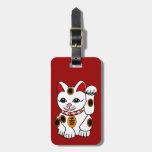 Gato de Maneki Neko en fondo rojo Etiquetas Bolsa