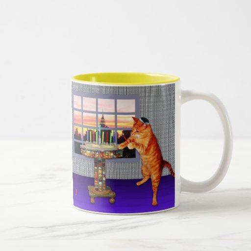Gato de Menorah Taza De Café