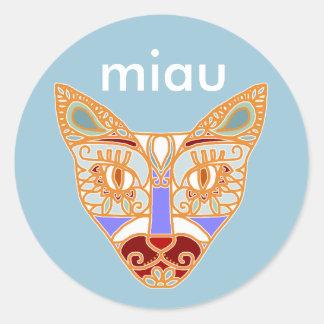 Gato de Mexicalli en azul - modifique el texto Pegatina Redonda
