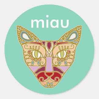 Gato de Mexicalli en lavanda - modifique el texto Pegatina Redonda