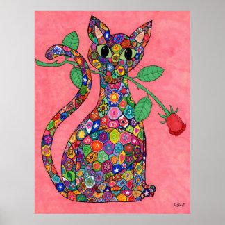 Gato de Millefiori con el rosa rojo Póster