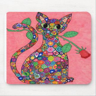 Gato de Millefiori con el rosa rojo Alfombrilla De Raton