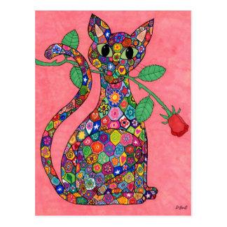Gato de Millefiori con el rosa rojo Tarjetas Postales