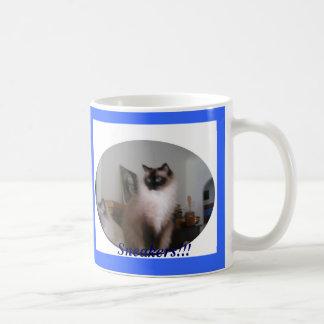 ¡Gato de Mitted Ragdoll del sello, zapatillas de d Taza