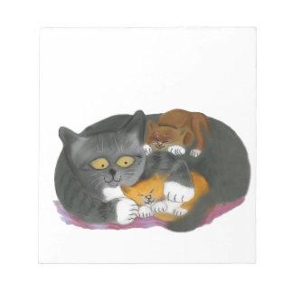 Gato de Momma y sus dos gatitos Libretas Para Notas
