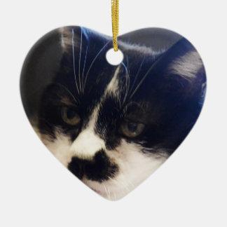 Gato de Monty Adorno Navideño De Cerámica En Forma De Corazón