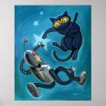 Gato de Ninja contra el robot Poster