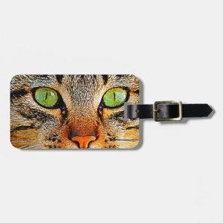 Gato de ojos verdes fascinador etiqueta de maleta