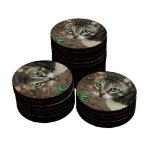 Gato de ojos verdes fichas de póquer