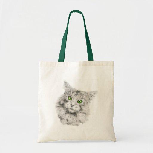 Gato de ojos verdes lindo bolsas