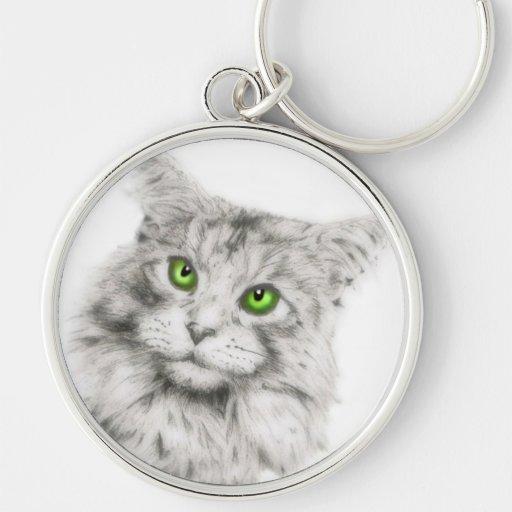 Gato de ojos verdes lindo llavero personalizado