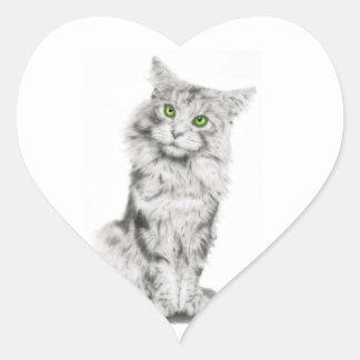 Gato de ojos verdes lindo calcomania de corazon