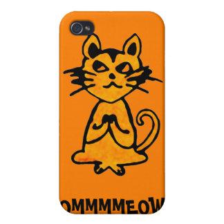 Gato de OM - caso del iPhone de la yoga (naranja) iPhone 4 Carcasas