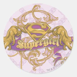 Gato de oro 3 de Supergirl Etiquetas Redondas
