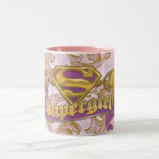 Gato de oro 3 de Supergirl Taza De Dos Tonos