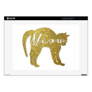Gato de oro del brillo, cita del maullido portátil 38,1cm skin