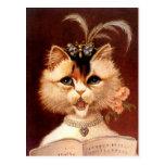 Gato de Partor del Victorian del vintage en postal