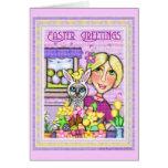 Gato de Pascua en cesta y tarjeta de la señora