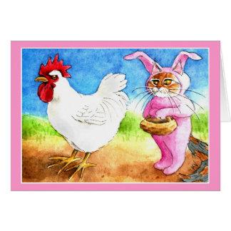 Gato de Pascua en juego del conejito y gallo Tarjetón