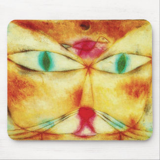 Gato de Paul Klee y cojín de ratón del pájaro Tapete De Ratón