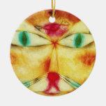 Gato de Paul Klee y ornamento del pájaro Adorno Navideño Redondo De Cerámica