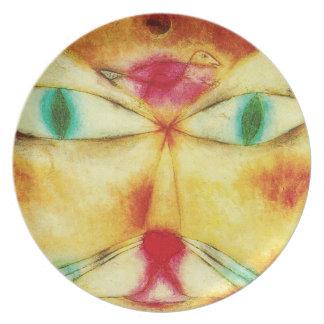 Gato de Paul Klee y placa del pájaro Plato Para Fiesta