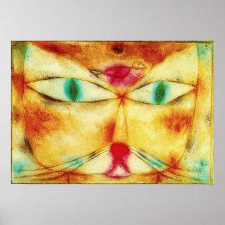 Gato de Paul Klee y poster del pájaro