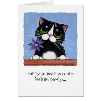Gato de Pawly de la sensación con la flor Tarjeta De Felicitación
