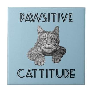 Gato de Pawsitive Cattitude Azulejo Cuadrado Pequeño