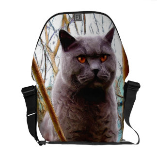 Gato de pelo corto azul británico bolsa messenger