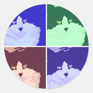 gato de pelo largo blanco y negro pegatina redonda
